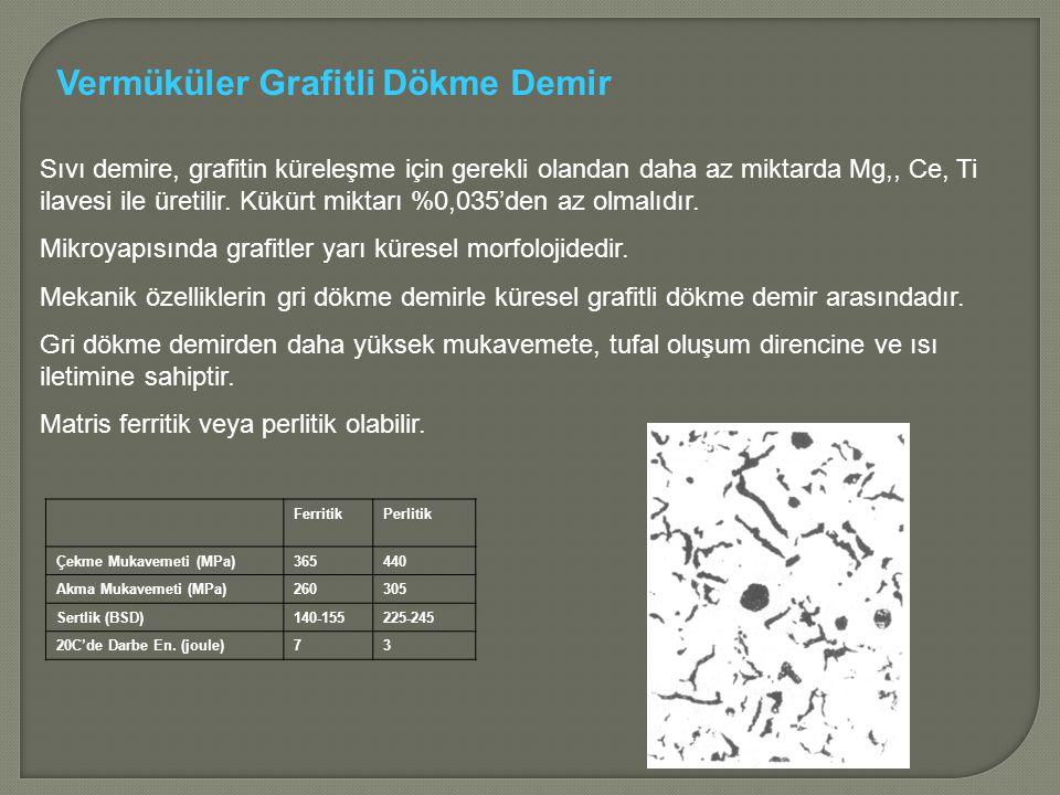 Sıvı demire, grafitin küreleşme için gerekli olandan daha az miktarda Mg,, Ce, Ti ilavesi ile üretilir.