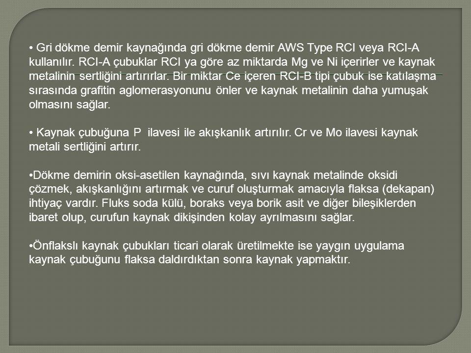 Gri dökme demir kaynağında gri dökme demir AWS Type RCI veya RCI-A kullanılır. RCI-A çubuklar RCI ya göre az miktarda Mg ve Ni içerirler ve kaynak met