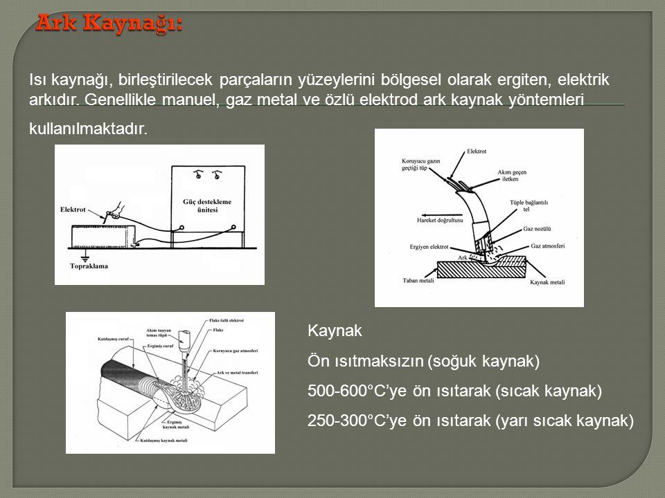 Isı kaynağı, birleştirilecek parçaların yüzeylerini bölgesel olarak ergiten, elektrik arkıdır. Genellikle manuel, gaz metal ve özlü elektrod ark kayna