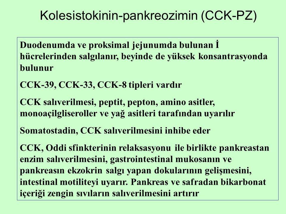 Kolesistokinin-pankreozimin (CCK-PZ) Duodenumda ve proksimal jejunumda bulunan İ hücrelerinden salgılanır, beyinde de yüksek konsantrasyonda bulunur C