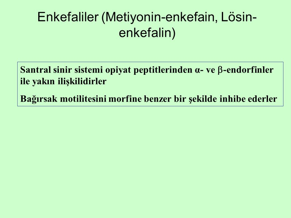 Enkefaliler (Metiyonin-enkefain, Lösin- enkefalin) Santral sinir sistemi opiyat peptitlerinden α- ve  -endorfinler ile yakın ilişkilidirler Bağırsak
