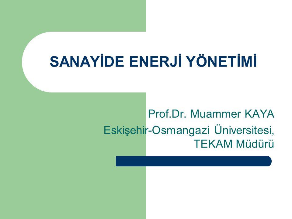 SANAYİDE ENERJİ YÖNETİMİ Prof.Dr. Muammer KAYA Eskişehir-Osmangazi Üniversitesi, TEKAM Müdürü