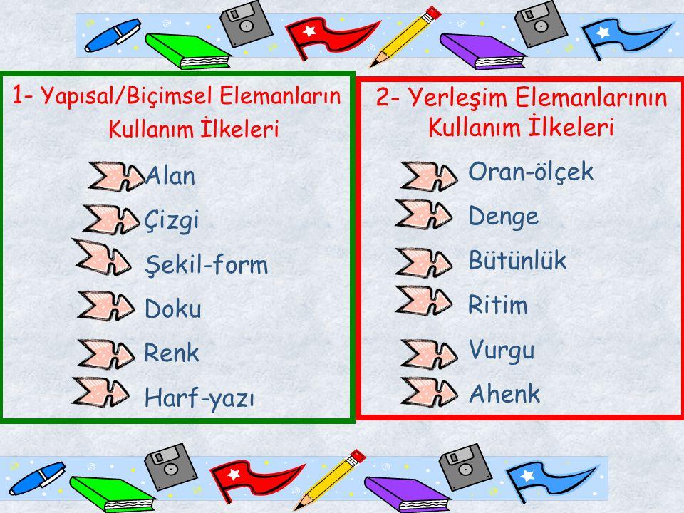 1- Yapısal/Biçimsel Elemanların Kullanım İlkeleri Alan Çizgi Şekil-form Doku Renk Harf-yazı 2- Yerleşim Elemanlarının Kullanım İlkeleri Oran-ölçek Denge Bütünlük Ritim Vurgu Ahenk