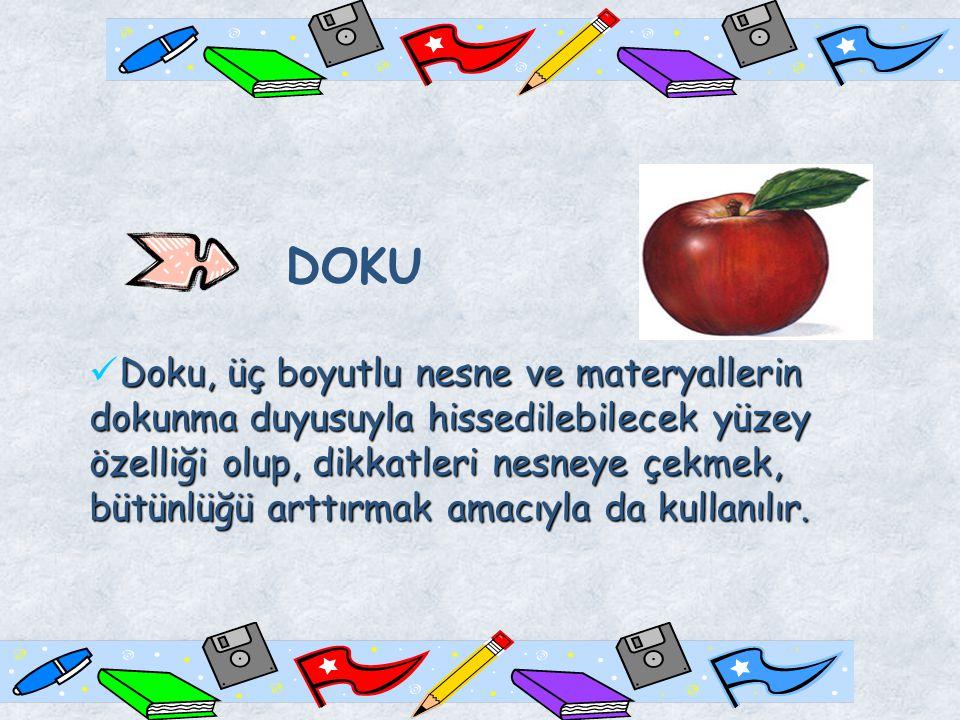 DOKU Doku, üç boyutlu nesne ve materyallerin dokunma duyusuyla hissedilebilecek yüzey özelliği olup, dikkatleri nesneye çekmek, bütünlüğü arttırmak amacıyla da kullanılır.
