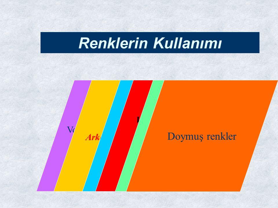 Verilmek istenen mesaja uygun renkler Arka planda zıt renkler Sunumda aynı renk şeması Vurguda parlak ve canlı renkler Renklerin Kullanımı 2-3 renk sınırı Doymuş renkler
