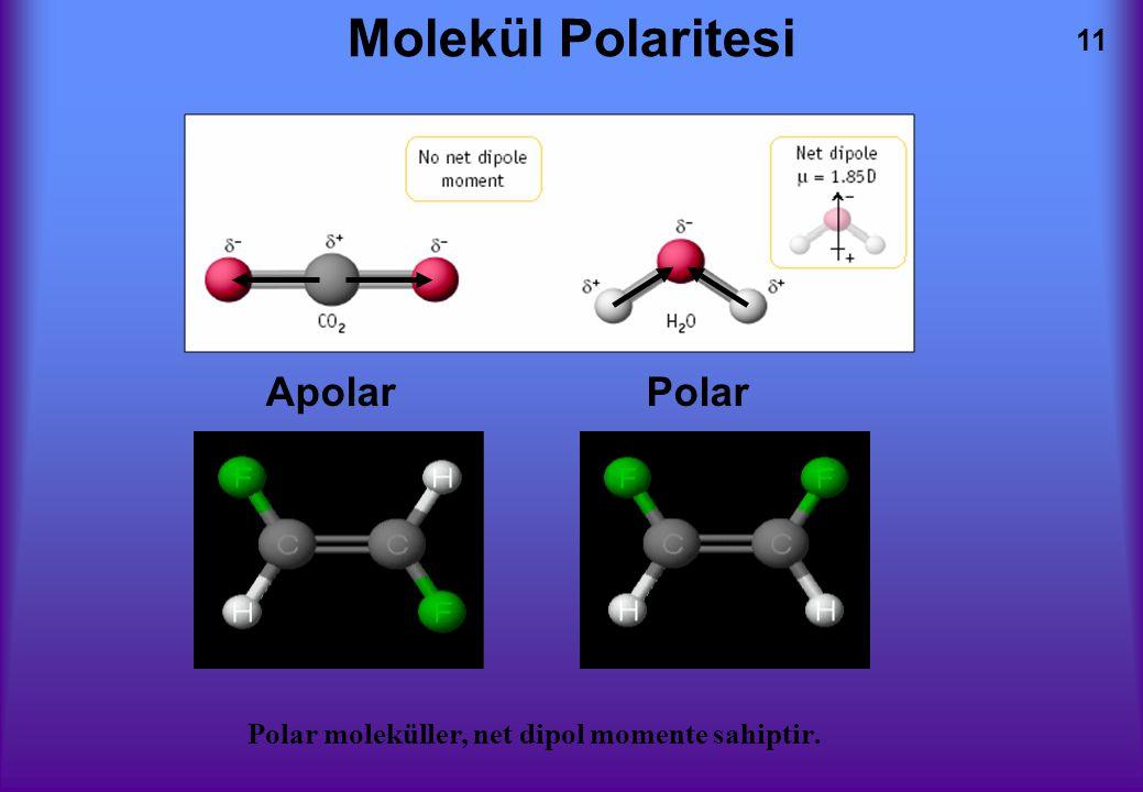 11 Molekül Polaritesi Polar moleküller, net dipol momente sahiptir. Apolar Polar