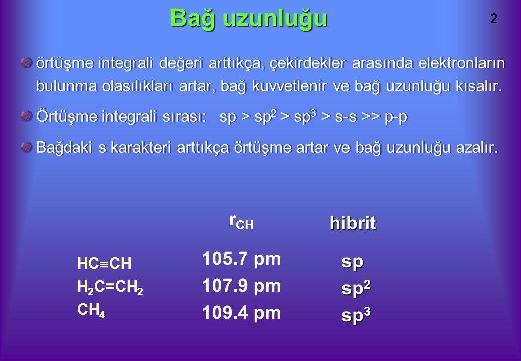 2 Bağ uzunluğu örtüşme integrali değeri arttıkça, çekirdekler arasında elektronların bulunma olasılıkları artar, bağ kuvvetlenir ve bağ uzunluğu kısalır.