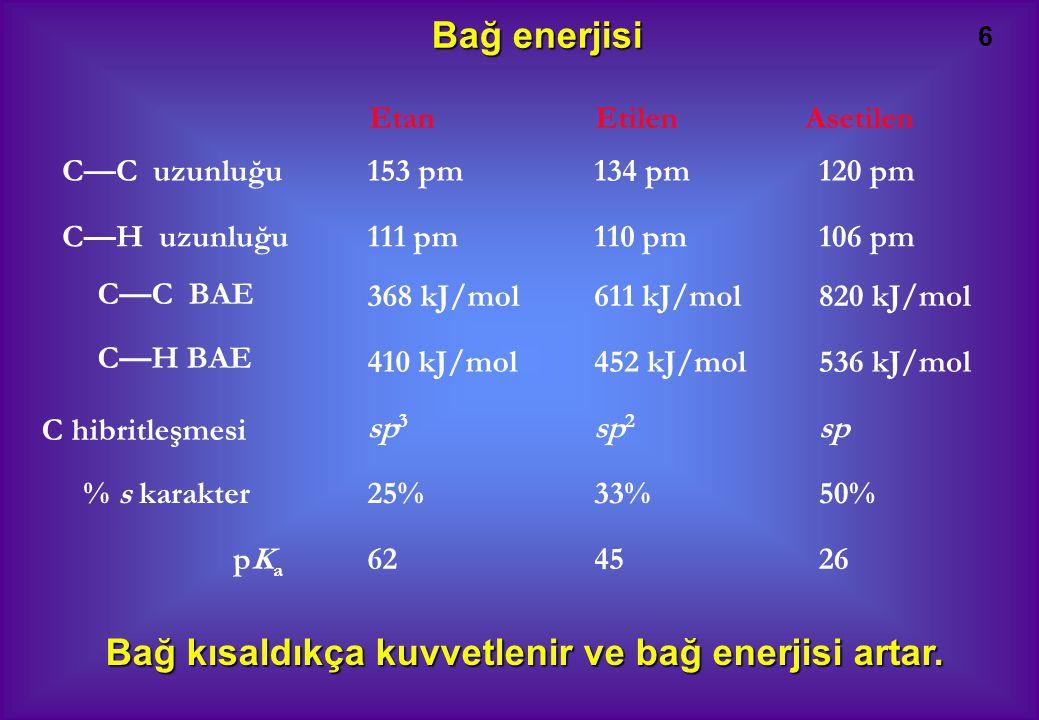 6 C—C uzunluğu C—H uzunluğu C—C BAE C—H BAE % s karakter pKapKa 153 pm 111 pm 368 kJ/mol 410 kJ/mol sp 3 25% 62 134 pm 110 pm 611 kJ/mol 452 kJ/mol sp 2 33% 45 120 pm 106 pm 820 kJ/mol 536 kJ/mol sp 50% 26 C hibritleşmesi Etan Etilen Asetilen Bağ enerjisi Bağ kısaldıkça kuvvetlenir ve bağ enerjisi artar.