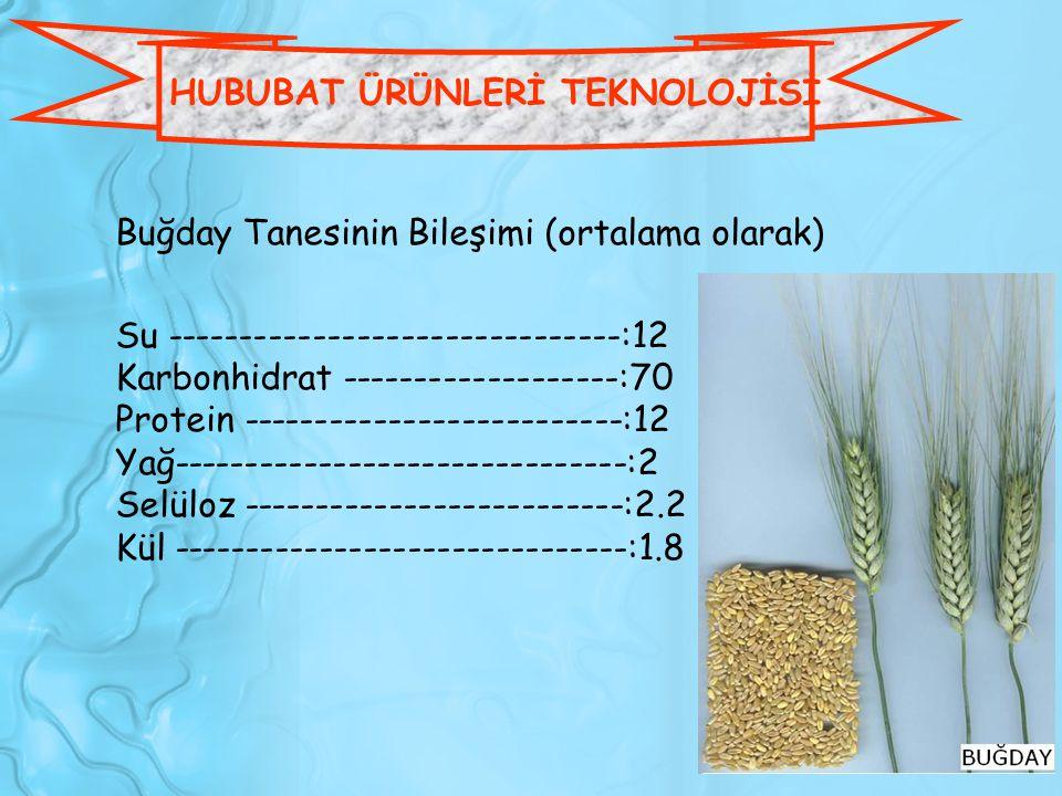Buğday Tanesinin Bileşimi (ortalama olarak) Su -------------------------------:12 Karbonhidrat -------------------:70 Protein ------------------------