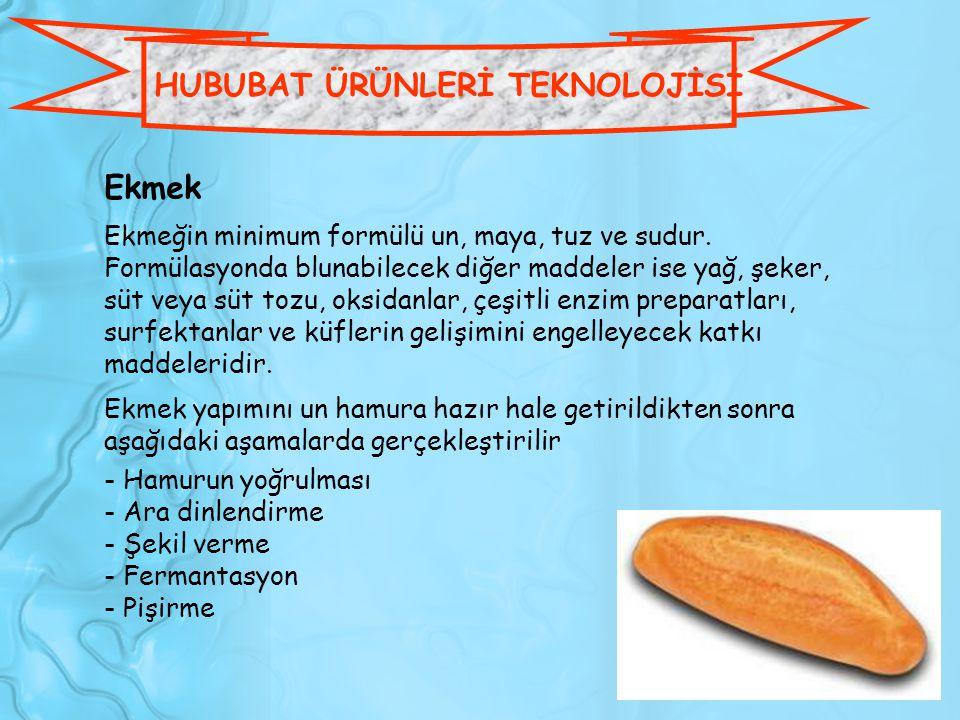 HUBUBAT ÜRÜNLERİ TEKNOLOJİSİ Ekmek Ekmeğin minimum formülü un, maya, tuz ve sudur. Formülasyonda blunabilecek diğer maddeler ise yağ, şeker, süt veya
