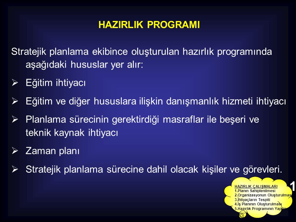 HAZIRLIK PROGRAMI Stratejik planlama ekibince oluşturulan hazırlık programında aşağıdaki hususlar yer alır:  Eğitim ihtiyacı  Eğitim ve diğer hususl