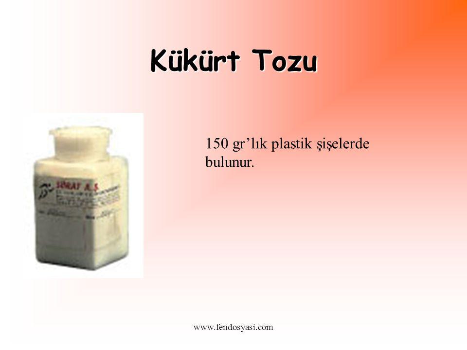 www.fendosyasi.com Kükürt Tozu 150 gr'lık plastik şişelerde bulunur.