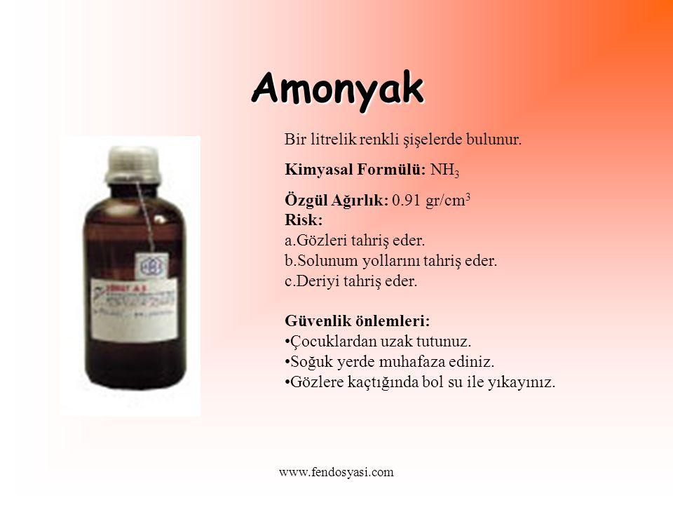 Amonyak Bir litrelik renkli şişelerde bulunur.