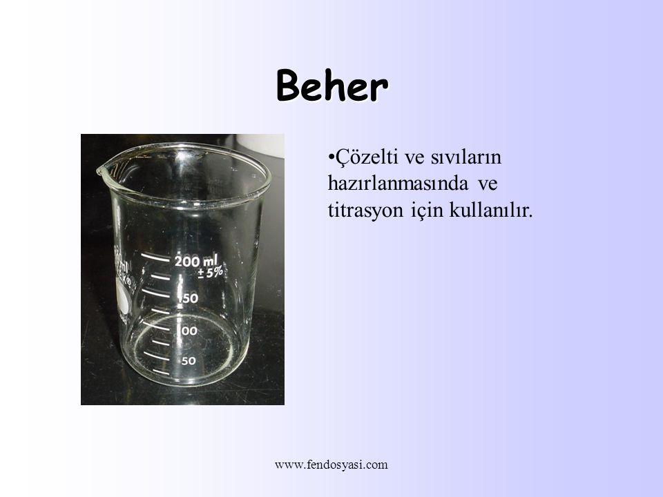 www.fendosyasi.com Beher Çözelti ve sıvıların hazırlanmasında ve titrasyon için kullanılır.