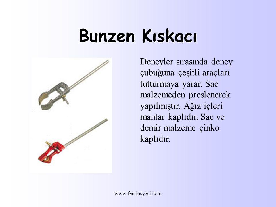 www.fendosyasi.com Bunzen Kıskacı Deneyler sırasında deney çubuğuna çeşitli araçları tutturmaya yarar.