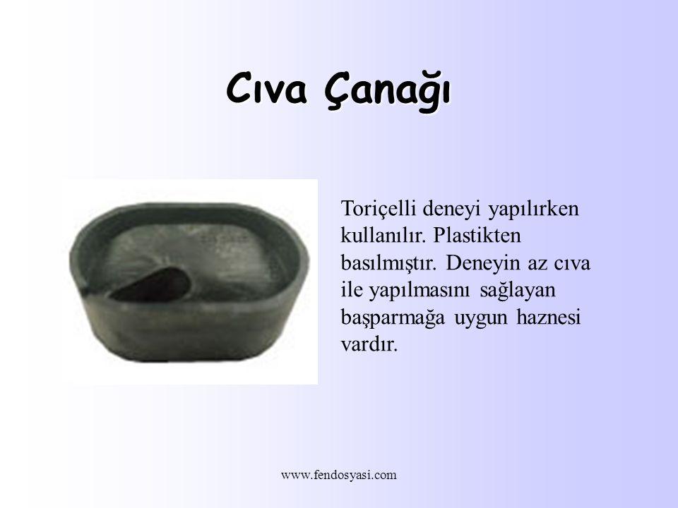 www.fendosyasi.com Cıva Çanağı Toriçelli deneyi yapılırken kullanılır.