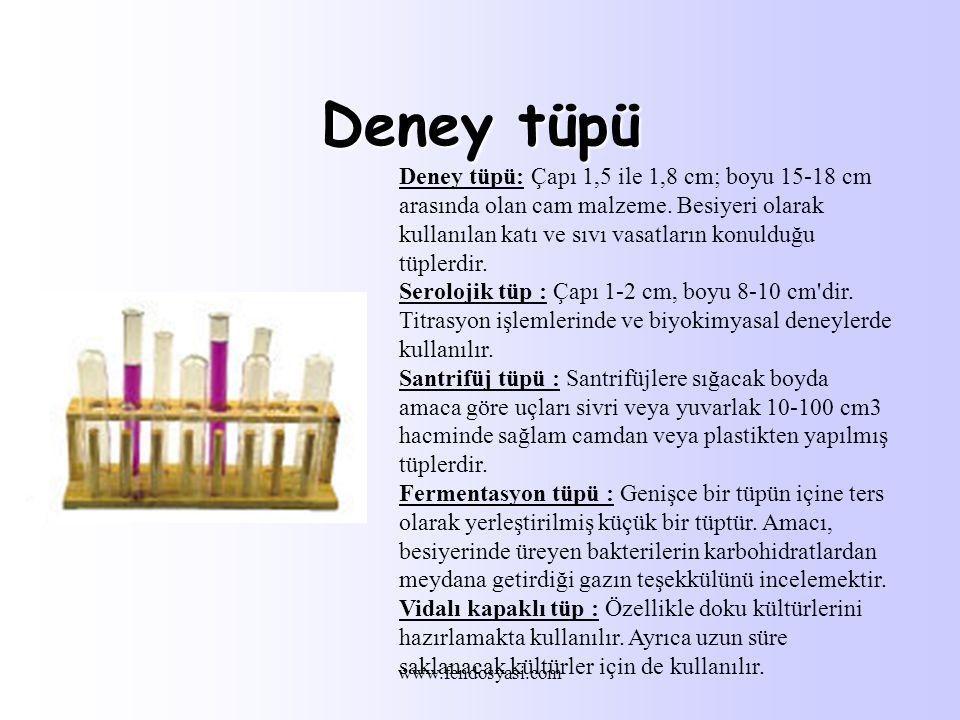 www.fendosyasi.com Deney tüpü Deney tüpü: Çapı 1,5 ile 1,8 cm; boyu 15-18 cm arasında olan cam malzeme.
