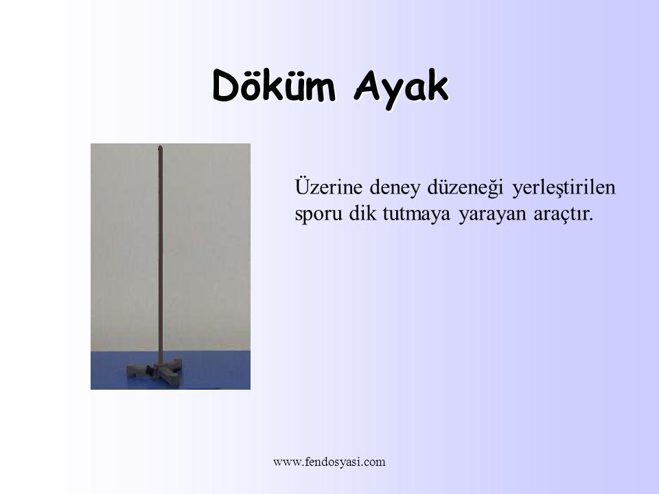 www.fendosyasi.com Döküm Ayak Üzerine deney düzeneği yerleştirilen sporu dik tutmaya yarayan araçtır.