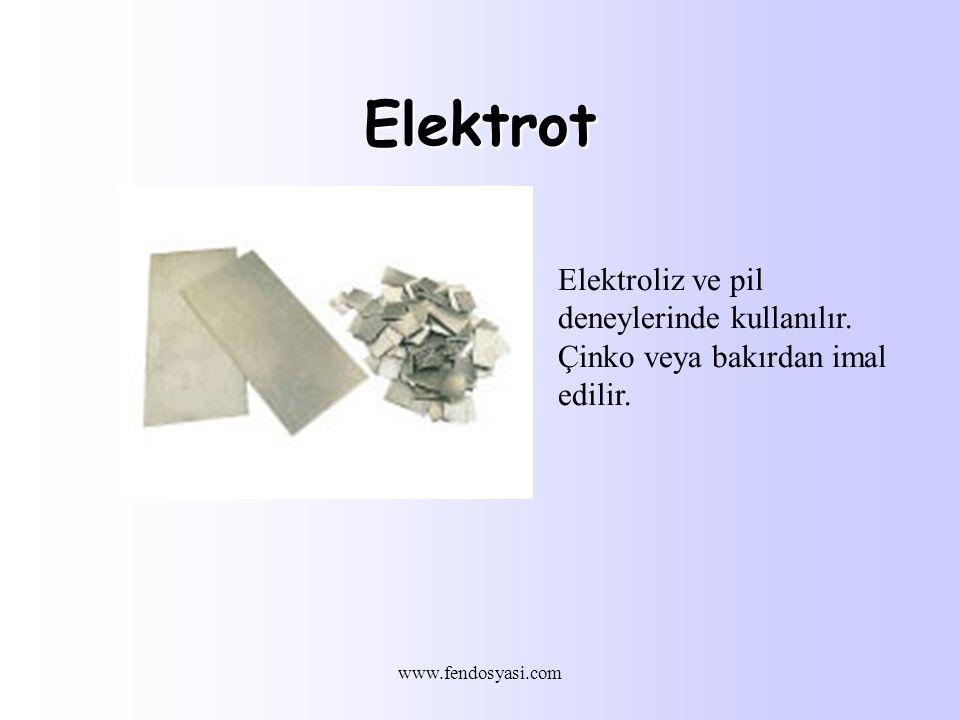 www.fendosyasi.com Elektrot Elektroliz ve pil deneylerinde kullanılır.