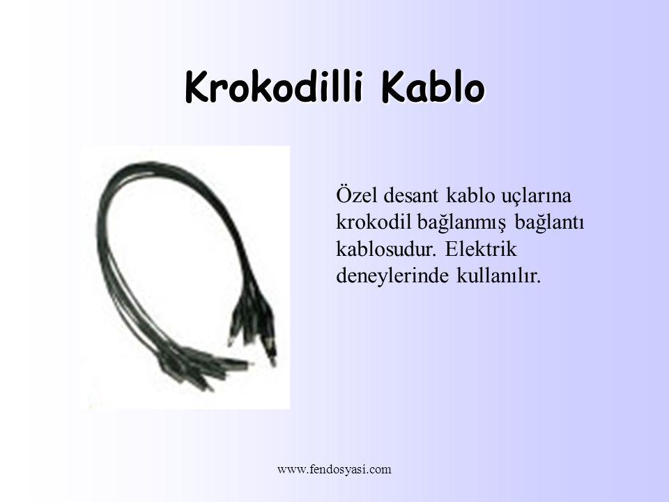 www.fendosyasi.com Krokodilli Kablo Özel desant kablo uçlarına krokodil bağlanmış bağlantı kablosudur.