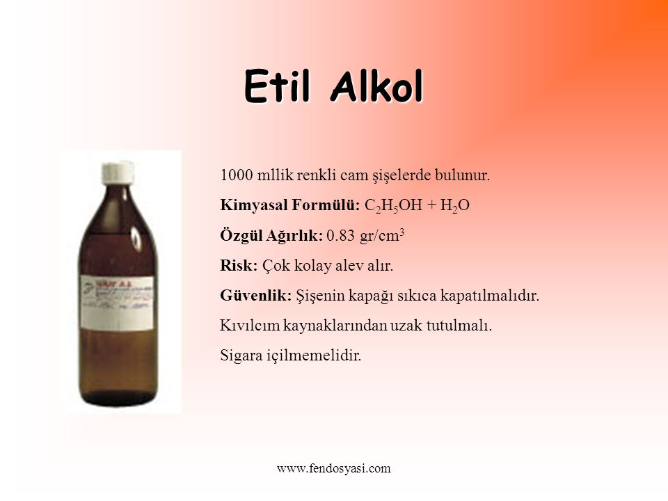 www.fendosyasi.com Etil Alkol 1000 mllik renkli cam şişelerde bulunur.