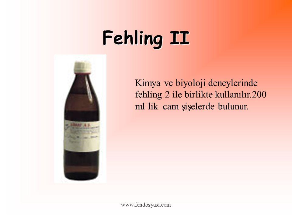 www.fendosyasi.com Fehling II Kimya ve biyoloji deneylerinde fehling 2 ile birlikte kullanılır.200 ml lik cam şişelerde bulunur.