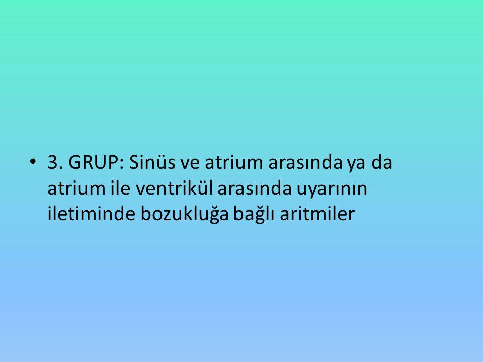 3. GRUP: Sinüs ve atrium arasında ya da atrium ile ventrikül arasında uyarının iletiminde bozukluğa bağlı aritmiler