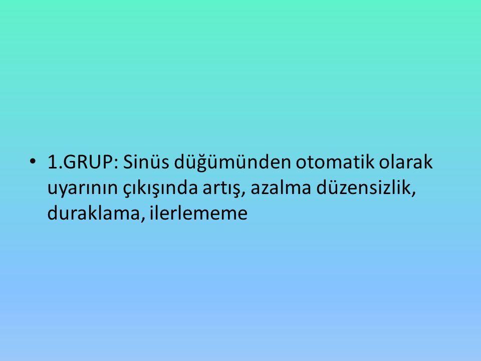 1.GRUP: Sinüs düğümünden otomatik olarak uyarının çıkışında artış, azalma düzensizlik, duraklama, ilerlememe