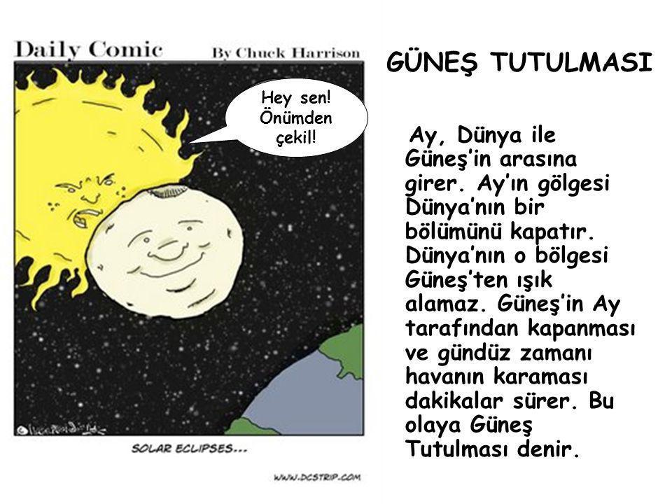 Hey sen! Önümden çekil! GÜNEŞ TUTULMASI Ay, Dünya ile Güneş'in arasına girer. Ay'ın gölgesi Dünya'nın bir bölümünü kapatır. Dünya'nın o bölgesi Güneş'