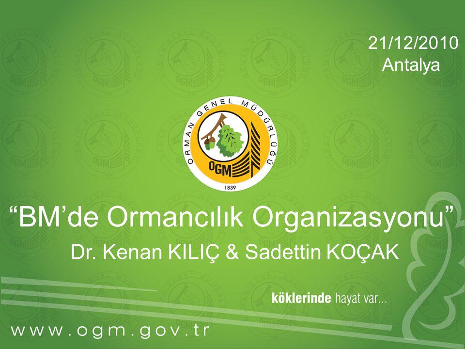 """""""BM'de Ormancılık Organizasyonu"""" Dr. Kenan KILIÇ & Sadettin KOÇAK 21/12/2010 Antalya"""