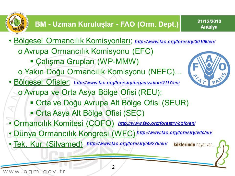 21/12/2010 Antalya 12 Bölgesel Ormancılık Komisyonları; o Avrupa Ormancılık Komisyonu (EFC)  Çalışma Grupları (WP-MMW) o Yakın Doğu Ormancılık Komisy