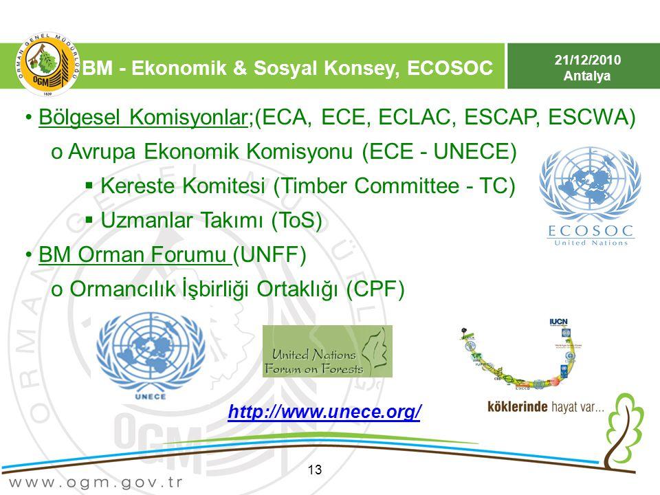 21/12/2010 Antalya BM - Ekonomik & Sosyal Konsey, ECOSOC 13 Bölgesel Komisyonlar;(ECA, ECE, ECLAC, ESCAP, ESCWA) o Avrupa Ekonomik Komisyonu (ECE - UN
