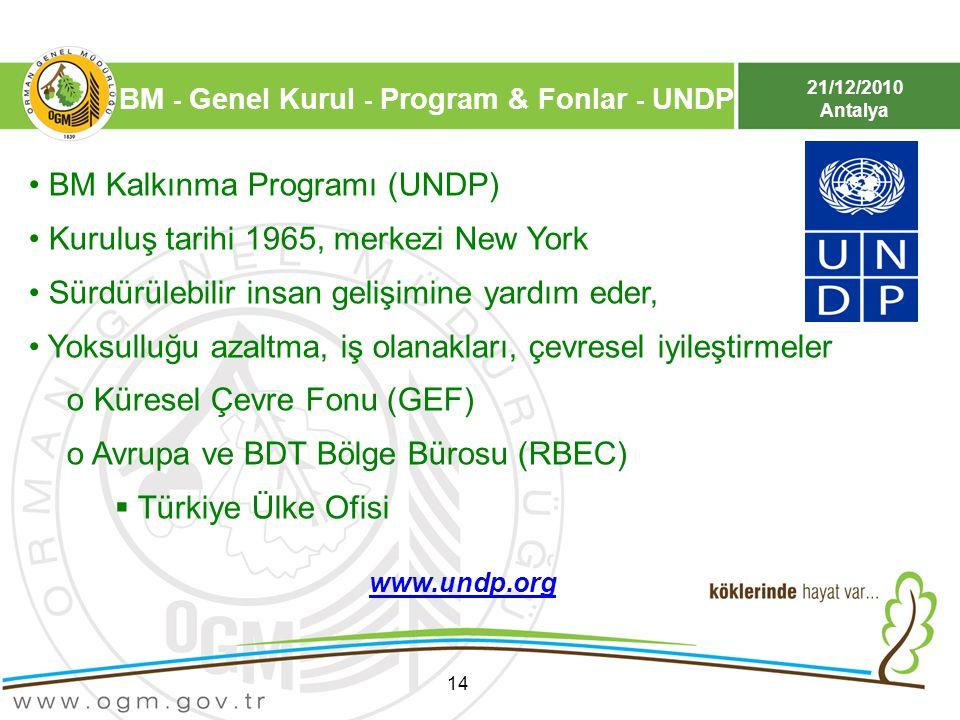 21/12/2010 Antalya 14 BM Kalkınma Programı (UNDP) Kuruluş tarihi 1965, merkezi New York Sürdürülebilir insan gelişimine yardım eder, Yoksulluğu azaltm