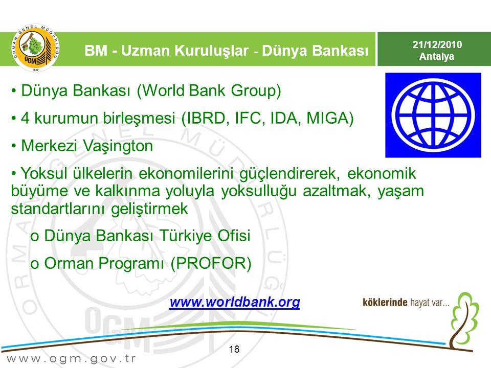 21/12/2010 Antalya 16 Dünya Bankası (World Bank Group) 4 kurumun birleşmesi (IBRD, IFC, IDA, MIGA) Merkezi Vaşington Yoksul ülkelerin ekonomilerini gü