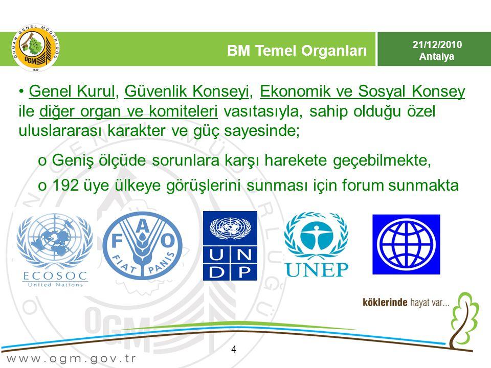 21/12/2010 Antalya BM Temel Organları 4 Genel Kurul, Güvenlik Konseyi, Ekonomik ve Sosyal Konsey ile diğer organ ve komiteleri vasıtasıyla, sahip oldu