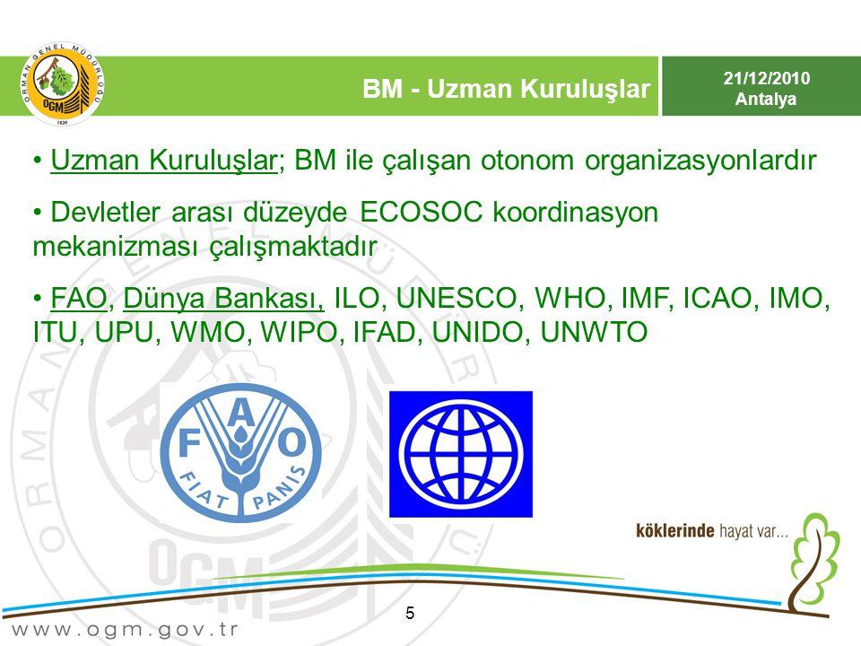 21/12/2010 Antalya BM - Uzman Kuruluşlar 5 Uzman Kuruluşlar; BM ile çalışan otonom organizasyonlardır Devletler arası düzeyde ECOSOC koordinasyon meka