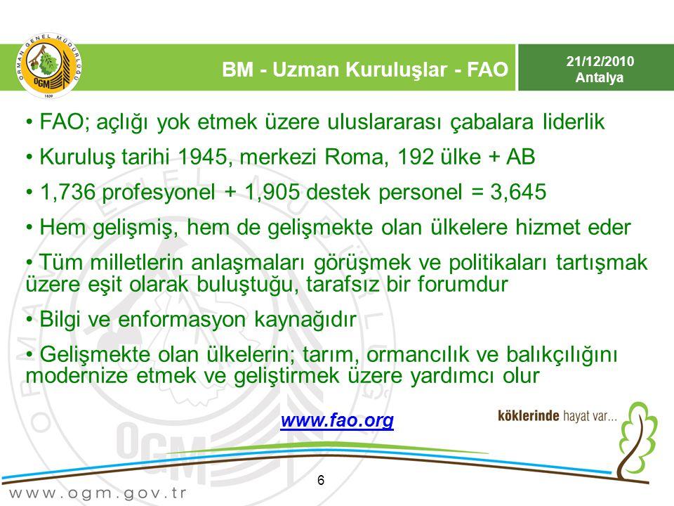 21/12/2010 Antalya BM - Uzman Kuruluşlar - FAO 6 FAO; açlığı yok etmek üzere uluslararası çabalara liderlik Kuruluş tarihi 1945, merkezi Roma, 192 ülk