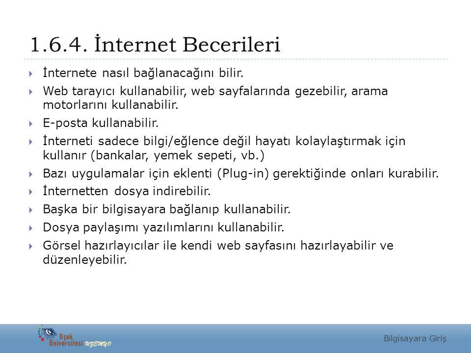 1.6.4. İnternet Becerileri  İnternete nasıl bağlanacağını bilir.  Web tarayıcı kullanabilir, web sayfalarında gezebilir, arama motorlarını kullanabi