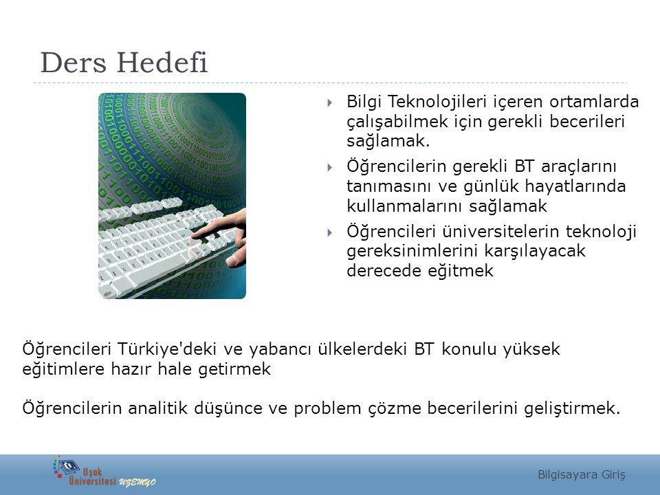 Ders Hedefi  Bilgi Teknolojileri içeren ortamlarda çalışabilmek için gerekli becerileri sağlamak.  Öğrencilerin gerekli BT araçlarını tanımasını ve