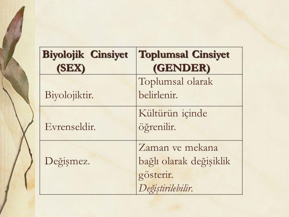 Biyolojik Cinsiyet (SEX) (SEX) Toplumsal Cinsiyet (GENDER) (GENDER) Biyolojiktir. Toplumsal olarak belirlenir. Evrenseldir. Kültürün içinde öğrenilir.