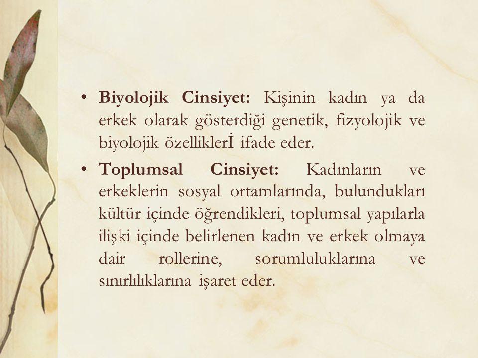 Biyolojik Cinsiyet: Kişinin kadın ya da erkek olarak gösterdiği genetik, fizyolojik ve biyolojik özelliklerİ ifade eder. Toplumsal Cinsiyet: Kadınları