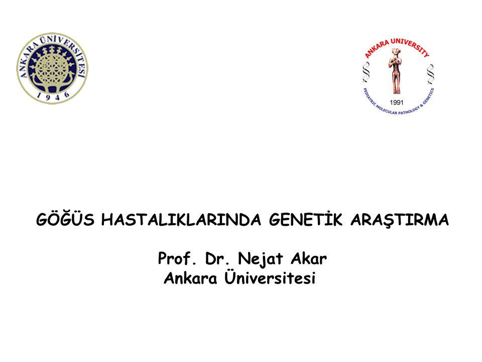 GÖĞÜS HASTALIKLARINDA GENETİK ARAŞTIRMA Prof. Dr. Nejat Akar Ankara Üniversitesi