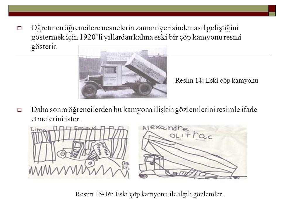  Öğretmen öğrencilere nesnelerin zaman içerisinde nasıl geliştiğini göstermek için 1920'li yıllardan kalma eski bir çöp kamyonu resmi gösterir.  Dah