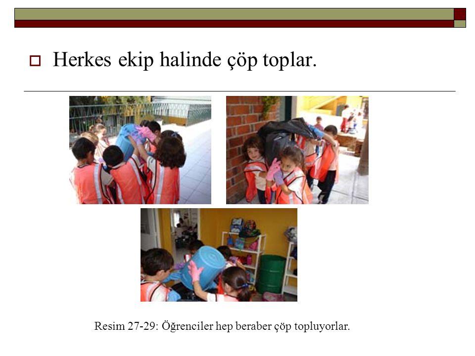 Herkes ekip halinde çöp toplar. Resim 27-29: Öğrenciler hep beraber çöp topluyorlar.