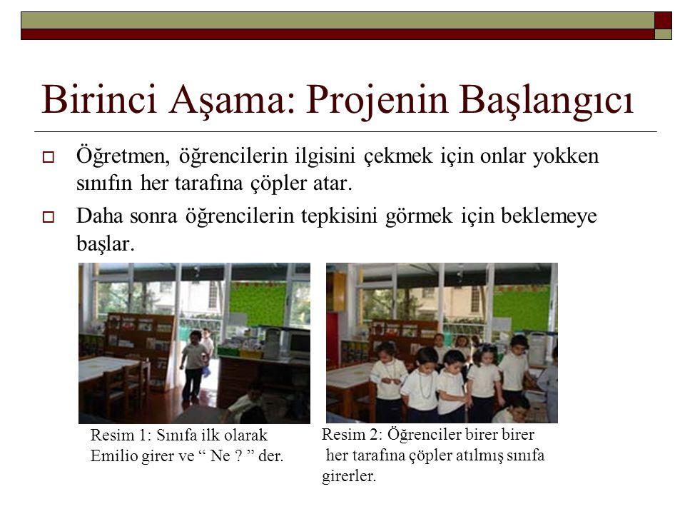 Birinci Aşama: Projenin Başlangıcı  Öğretmen, öğrencilerin ilgisini çekmek için onlar yokken sınıfın her tarafına çöpler atar.  Daha sonra öğrencile