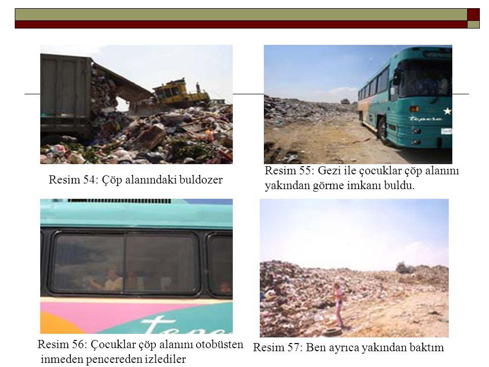 Resim 54: Çöp alanındaki buldozer Resim 55: Gezi ile çocuklar çöp alanını yakından görme imkanı buldu. Resim 56: Çocuklar çöp alanını otobüsten inmede