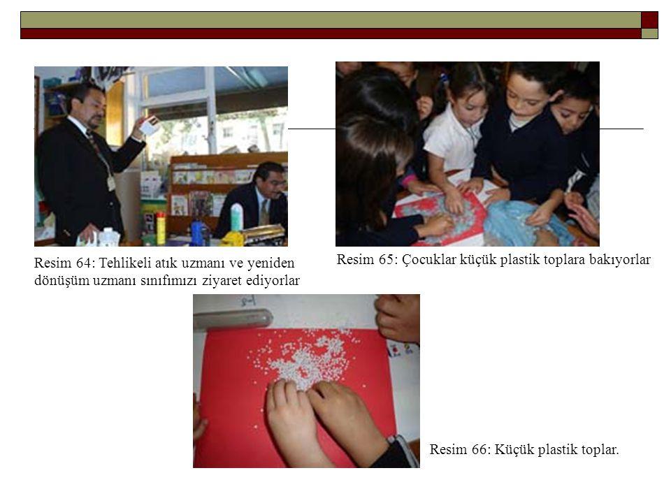 Resim 64: Tehlikeli atık uzmanı ve yeniden dönüşüm uzmanı sınıfımızı ziyaret ediyorlar Resim 65: Çocuklar küçük plastik toplara bakıyorlar Resim 66: K