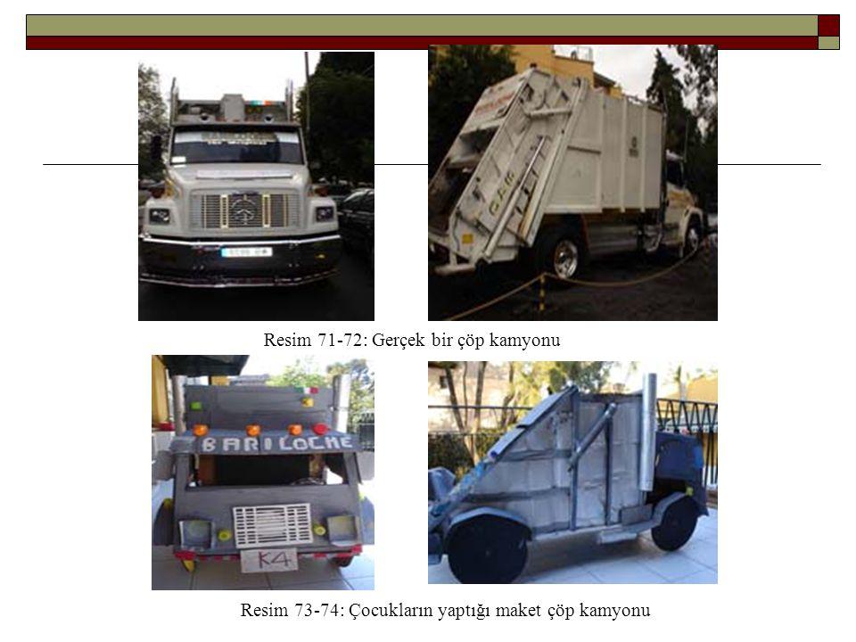 Resim 71-72: Gerçek bir çöp kamyonu Resim 73-74: Çocukların yaptığı maket çöp kamyonu