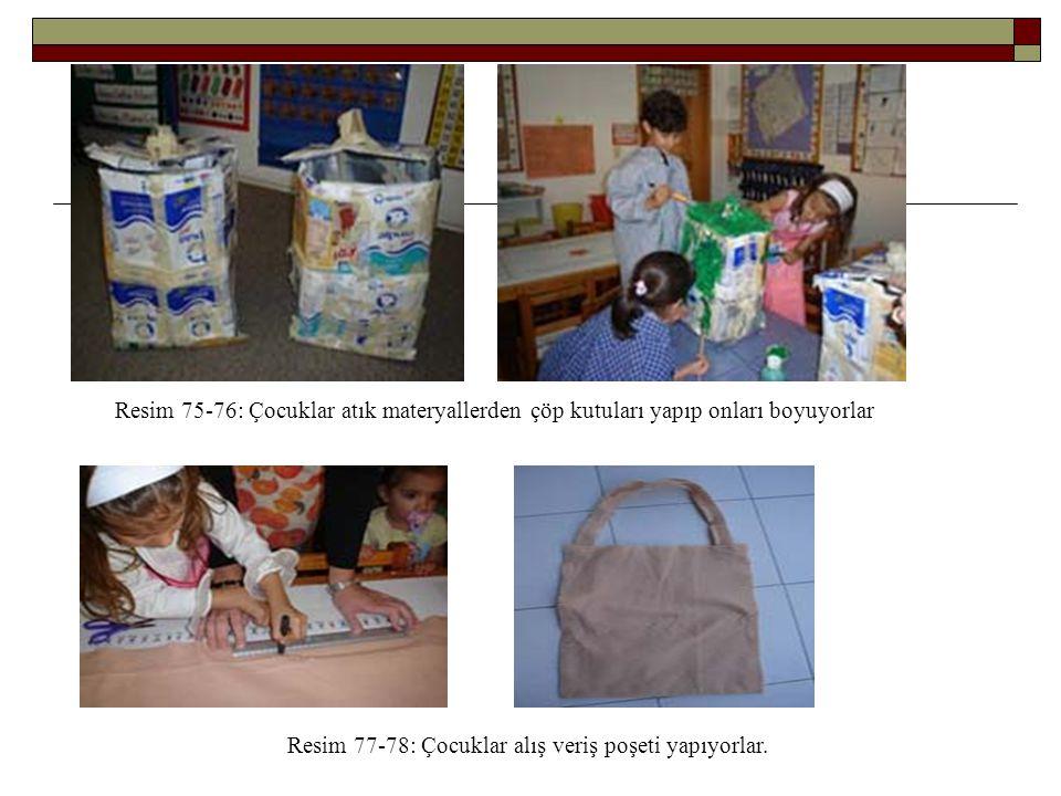 Resim 75-76: Çocuklar atık materyallerden çöp kutuları yapıp onları boyuyorlar Resim 77-78: Çocuklar alış veriş poşeti yapıyorlar.