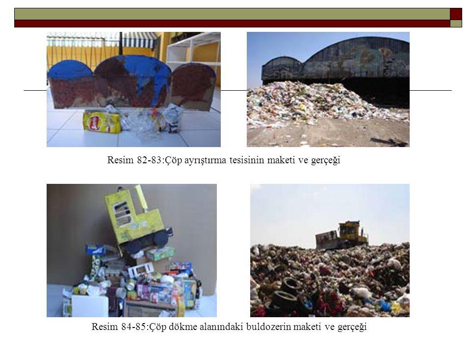Resim 82-83:Çöp ayrıştırma tesisinin maketi ve gerçeği Resim 84-85:Çöp dökme alanındaki buldozerin maketi ve gerçeği